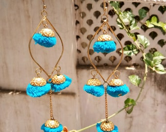 Jewellery, Earrings, Drop Earrings, Pom Pom Earrings, Handmade Earrings, Pom Pom Drop Earrings, Jhumka Earrings, Blue Color Pom Pom Earrings