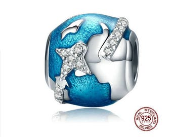 Pandora plane charm etsy all around the world charm 925 sterling silver fits european charm bracelet and snake sciox Choice Image