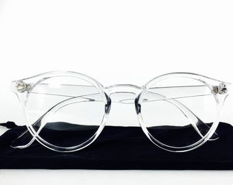 Vintage Clear Lens Transparent Frame Pantos Glasses