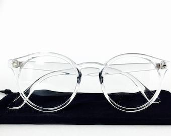 Transparent Frame Clear Lens Retro Pantos Glasses w/See through Frame
