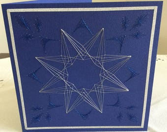Handmade Embroidered Greeting Card (Star 4)