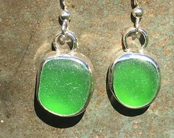 Bright Green Genuine Bering Sea Glass Sterling Silver Earrings
