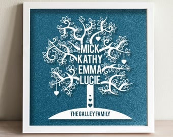 Personalised Family Tree - hand painted directly on to glass with white acrylic paint. Framed in front a of glitter background. Family, Home