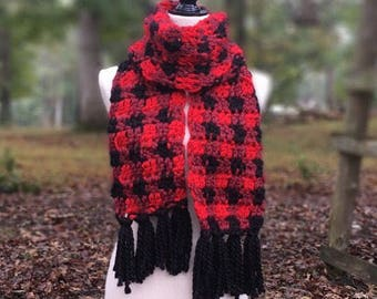 Plaid Scarf; Red Plaid Scarf; Green Plaid Scarf; Gray Plaid Scarf; Black and White Plaid Scarf; Christmas Scarf; Scarf with Tassles