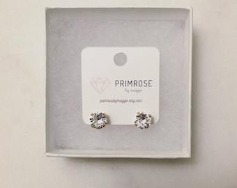 Crystal + Rose Gold, Handmade, Swarovski Crystal, Stud Earrings, Bridal Earrings, Wedding Jewelry, Bridesmaid Jewelry, Bridesmaid Gift