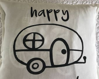 Happy Camper Vintage Camper Trailer rustic pillow