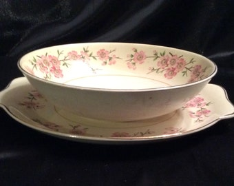 Harmony House Maytime floral sering platter and bowl 53V
