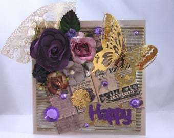 Beautiful Handmade Floral Greeting Card with Purple Flowers and Butterfly, Embellished, Happy, Happy Birthday