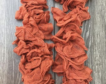 Coral Knitted Mesh Ruffle Scarf