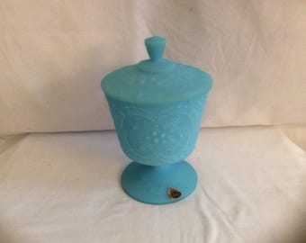 Fenton art glass blue satin wild strawberry Large  candy dish compote w/lid MINTY