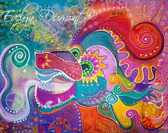 """Quetzalcoatl"" Evelyn Dumont artist canvas"