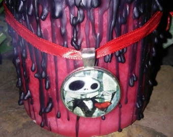Jack Skellington Nightmare Before Christmas Scented Pillar Candle with Free Necklace