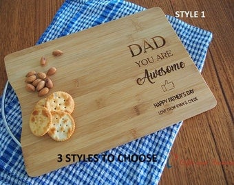 FREE DELIVERY-Personalised Bamboo Engraved rectangle cutting board S/S handle-Gift for Dad/ Gift for Grandpa-Father's Day Gift-Birthday gift