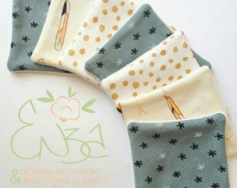 Set of 7 cotton demaquiller washable organic cotton and bamboo