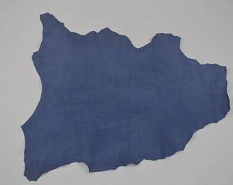 Peau de cuir d'agneau velours bleu