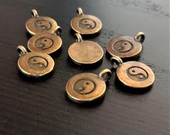 10 Yin Yang Charms   Bronze Yin Yang   Yin Yang Pendant   Chinese Pendant   Zen Charm   Ready to Ship from the USA   BR093-10
