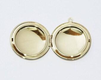 Round locket pendant 20mm Golden brass
