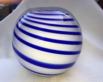 Beautiful Handmade White VASE with Cobalt Blue Swirls
