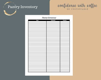 Pantry Inventory   Meal Planning Made Easy   Grocery Shop to know   8.5x11 Template   Print as you go   Black and White PDF