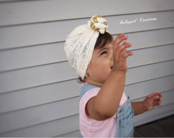 Cream Lace turban, Turban hat , Baby and Adult Turban hat, newborn turban hat, girls turban hat, toddler turban, knotted turban hat,