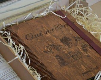 Wedding planner, wedding planner book, wedding book, wood planner, planner, notebook, wooden notebook, wedding planning, wooden journal