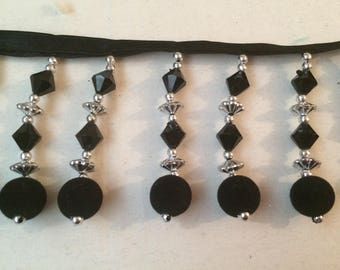 Black Pearl Ribbon and silver fringe