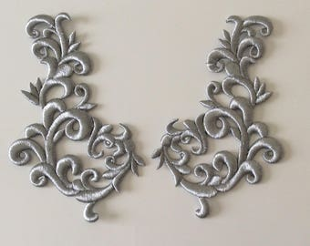 Applique embroidered silver thread slightly raised 24 * 13 cm
