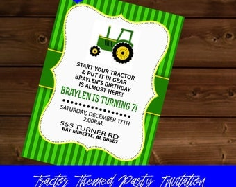 Green and Yellow Tractor Themed Invitation