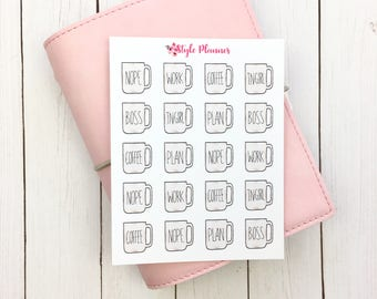 Inspired by Rae Dunn | Coffee Cups | Nope Plan Boss | Original Hand Drawn Planner Stickers | Erin Condren | Happy Planner