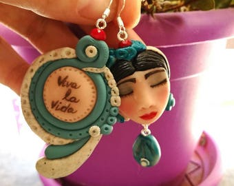 """Frida Kahlo earrings-""""viva la vida"""" entirely handmade"""