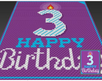 Happy Birthday 3 crochet blanket pattern; knitting, cross stitch graph; pdf download; no written counts or row-by-row instructions