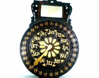 One of a kind Antique Perpetual Calendar Arts and Crafts Period in the form of a Flower Clock (927)