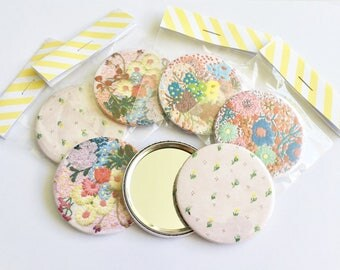 Pocket Mirror, Floral Pattern, Bag Accessories