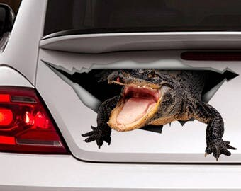 Crocodile car decal, Vinyl decal, car decoration, reptile decal, funny car decal, 3D  sticker