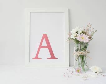 Framed Pink Foiled Wall Art | Initial Wall Art Print | Wall Decor | Home Decor | Pink Wall Decor | Nursery Print | FREE UK SHIPPING |