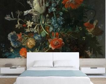 oil painting floral vintage, vintage painting floral, vintage flower, dark painting floral, vintage floral wallpaper, painting floral mural