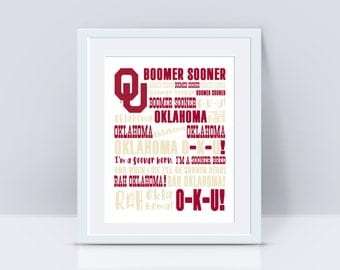 Oklahoma Boomer Sooner Print | PRINT or DIGITAL | Boomer Sooner | University of Oklahoma | OU Sooners
