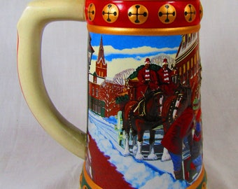 1993 Budweiser Holiday Stein Clydesdales  Hometown Holiday Anheuser Busch
