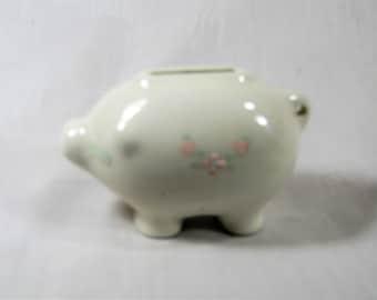 Miniature Piggy Bank - Hand Painted - Ceramic - Vintage - Retro Bank
