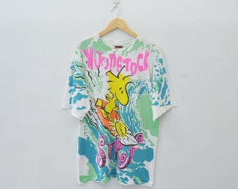 WOODSTOCK Shirt Vintage WOODSTOCK Surf All Over Print Made In USA Tee T Shirt Size L