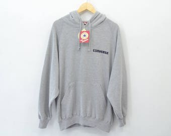 CONVERSE Sweater Vintage 90's Converse One Star Spell Out Hoodie Sweater Jacket Size XL