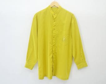 LANCEL Shirt Vintage 90's Lancel Paris Button Down Mustard Yellow Made in Japan Shirt Size L