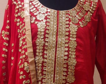Fully stitched Rjasthani ethnic work Gotta Patti suit with palazo pant: FREE shipping in US