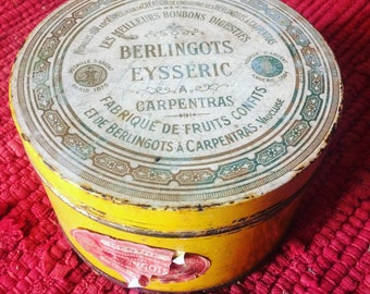 Vintage tin box from Carpentras cartons. Regional speciality. Candy box. french vintage. 1940's Yellow. Script.