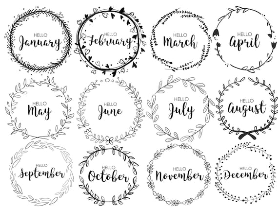 Book Cover Printable January : Journal monthly covers wreath bullet