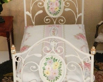 "Artisan Made Dollhouse Miniature Wrought Iron Look Bed ""Jolie"" 1:12 Scale Twin and Full, Half Scale"