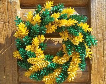 Green Bay Packer Pine Cone Wreath, Green and Yellow Wreath,  Sports Wreath
