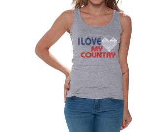 USA I Love My Country Tank Tops for Women USA Beach Tanks Fourth of July tank top Red White and Blue tank top