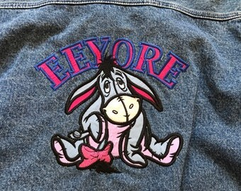 Vintage Winnie the Pooh Denim jacket 1990's EEYORE Character Womens XL unisex jean jacket Disney shirt 90's cartoons