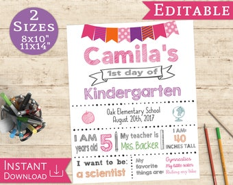 First day of School Sign Editable White Board Girl Back to School 1st day of School, DIY Printable Photo, Pink and Purple, Flags